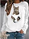여성용 후드 맨투맨 스웻티셔츠 고양이 그래픽 3D 일상 베이직 캐쥬얼 후드 스웨트 셔츠 화이트 블랙
