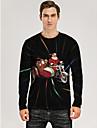 Ανδρικά Μπλουζάκι 3D εκτύπωση Γραφική 3D Στάμπα Μακρυμάνικο Χριστούγεννα Άριστος Μαύρο