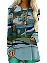 Women\'s T Shirt Dress Tee Dress Knee Length Dress Blue Gray Long Sleeve Print Patchwork Print Spring Round Neck Casual 2021 S M L XL XXL 3XL