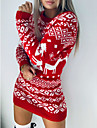 Women\'s Sweater Jumper Dress Short Mini Dress Green Black Red Long Sleeve Geometric Animal Patchwork Print Fall Winter Round Neck Casual Going out 2021 S M L XL XXL