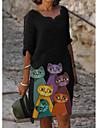 Women\'s Shift Dress Knee Length Dress Long Sleeve Print Cat Patchwork Jacquard Winter Casual Christmas 2021 Black M L XL XXL 3XL