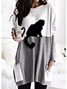 Women\'s Shift Dress Maxi long Dress Long Sleeve Print Cat Color Block Patchwork Print Fall Winter Casual 2021 Gray S M L XL XXL 3XL