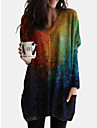 Women\'s Shift Dress Knee Length Dress Blue Green Long Sleeve Print Color Gradient Print Fall V Neck Casual 2021 S M L XL XXL 3XL