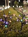 2 Packs Solar Flower Lights with 20 Cherry Blossom Solar Fairy Lights Waterproof Multi-Color Solar Powered Garden Lights for Christmas Decor