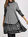 Women\'s A Line Dress Knee Length Dress Gray Long Sleeve Plaid Color Block Patchwork Print Fall Winter Turtleneck Casual 2021 S M L XL XXL 3XL 4XL