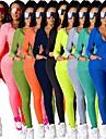 女性用 2個 フルジップ トラックスーツ ヨガスーツ アスレイジャー 冬 長袖 ハイネック 高通気性 ジムトレーニング ランニング ジョギング スポーツウェア タイト ソリッド ジャケット 黄色の蛍光色 青緑 ブラック ライトレッド アーミーグリーン ブルー フロントファスナー アクティブウェア 伸縮性あり / パッチワーク