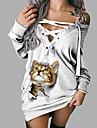 Per donna Vestito a trapezio Mini abito corto Manica lunga Gatto Animali Con stampe Autunno Primavera 3D Casuale Stampa 3D Bianco S M L XL XXL 3XL