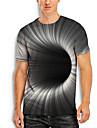 男性用 Tシャツ シャツ 3Dプリント グラフィック 3D プリント 半袖 カジュアル トップの シンプル クラシック ラウンドネック グレー / 夏