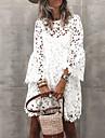 Women\'s Sheath Dress Short Mini Dress White Long Sleeve Solid Color Lace Hollow To Waist Spring Summer Round Neck Elegant Mumu vacation dresses Flare Cuff Sleeve 2021 S M L XL XXL