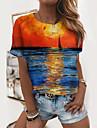 Dámské Obraz Tričko Scéna Grafické tisky Tisk Kulatý Základní Topy Vodní modrá Světle modrá