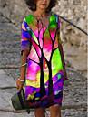 Women\'s A Line Dress Knee Length Dress Purple Blushing Pink Green 3/4 Length Sleeve Print Print Fall Spring V Neck Casual Loose 2021 S M L XL XXL 3XL