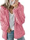 여성용 테디 코트 캐쥬얼 일상 데이트 가을 겨울 보통 코트 루즈핏 방풍 웜 시크&모던 자켓 긴 소매 솔리드 푸른 퍼플 블러슁 핑크 / 면