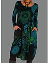 Per donna Abito a T shirt Abito al ginocchio Blu Viola Manica lunga Monocolore Con stampe Autunno Inverno Rotonda Casuale Largo 2021 S M L XL XXL