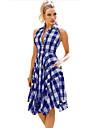 Women\'s A Line Dress Short Mini Dress Blue Sleeveless Color Block Patchwork Fall Spring Casual 2021 S M L XL 2XL 3XL