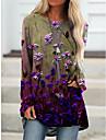 Per donna Abito a T shirt Mini abito corto Manica lunga Fantasia floreale Con stampe Autunno Primavera Taglie forti Casuale 2021 Blu Viola Cachi Verde Verde chiaro Grigio S M L XL XXL 3XL 4XL 5XL