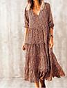 Women\'s Swing Dress Midi Dress Brown Long Sleeve Print Print Spring Summer V Neck Casual Holiday Boho vacation dresses Lantern Sleeve Loose 2021 S M L XL XXL 3XL