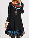Women\'s A Line Dress Knee Length Dress Black Long Sleeve Floral Tie Dye Patchwork Print Fall Spring Round Neck Work Casual Going out Loose 2021 S M L XL XXL 3XL 4XL / Plus Size / Plus Size