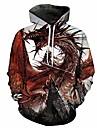 Hombres big fire dragon sudaderas con capucha con estampado 3d sudadera de invierno forrada de lana con bolsillo 3xl