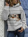Γυναικεία Φούτερ πουλόβερ με κουκούλα και πουλόβερ Γάτα Καθημερινά Σαββατοκύριακο Καθημερινό Φούτερ Φούτερ Φαρδιά Λευκό
