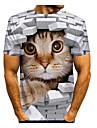 T-shirt Homme 3D effet Graphique 3D Animal Normal 1 pc Imprime Manches Courtes Quotidien Standard Polyester Col Rond