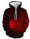 Herre Plusstørrelser Hattetrøje Farveblok Geometrisk 3D Hætte Daglig Ferie Gade Halloween Hættetrøjer Sweatshirts Lilla Gul Grøn