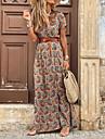 Women\'s Swing Dress Maxi long Dress Black Red Brown Short Sleeve Print Color Block Split Ruffle Button Spring Summer V Neck Classic & Timeless Vintage Boho Holiday Loose 2021 S M L XL XXL 3XL