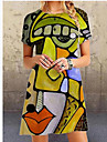 Women's A Line Dress Knee Length Dress Blue Yellow Red Brown Short Sleeve Print Patchwork Print Summer Round Neck Casual Going out Slim 2021 S M L XL XXL 3XL / Plus Size / Plus Size