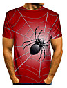 Men\'s T shirt Shirt 3D Print Graphic 3D Animal Print Short Sleeve Daily Tops Casual Round Neck Wine Blue Red
