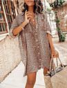 Women\'s Shirt Dress Short Mini Dress Khaki Long Sleeve Leopard Leopard Print Button Spring Summer Shirt Collar Casual Sexy vacation dresses Lantern Sleeve 2021 S M L XL XXL