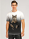 Men\'s T shirt 3D Print Graphic 3D Animal Print Short Sleeve Daily Tops Casual Gray / White