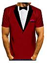 Men\'s T shirt Shirt 3D Print Graphic 3D Print Short Sleeve Daily Tops Round Neck Red