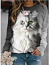 여성용 후드 맨투맨 스웻티셔츠 카툰 고양이 동물 프린트 3D 인쇄 3D 프린트 후드 스웨트 셔츠 루즈핏 그레이