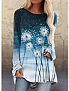 Per donna Abito a T shirt Mini abito corto Vino Cachi Azzurro Manica lunga Con stampe Colorato a macchie Collage Con stampe Autunno Primavera Rotonda Casuale 2021 S M L XL XXL 3XL 4XL 5XL