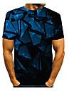 Men\'s T shirt 3D Print Graphic 3D Print Short Sleeve Daily Tops Black / Navy