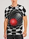Herre T-shirt Skjorte 3D-udskrivning Grafisk 3D Print 3D Trykt mønster Kortærmet Daglig Toppe Afslappet Rund hals Blå / Sort Sort+Grøn Sort og Gul