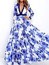 여성용 스윙 드레스 맥시 드레스 화이트 긴 소매 플로럴 프린트 가을 봄 V 넥 우아함 2021 S M L XL XXL / 플러스 사이즈 / 쉬폰 / 플러스 사이즈