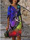Női Váltó ruha Térdig érő ruha Féhosszú Nyomtatott Kollázs Nyomtatott Tavasz Nyár Extra méret Munkahelyi Alkalmi 2021 Medence Rubin Sárga Lóhere Világoszöld S M L XL XXL 3XL 4XL 5XL