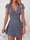 Women\'s Sheath Dress Knee Length Dress Black Navy Blue Short Sleeve Print Spring Summer Casual 2021 S M L XL