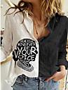 여성용 블라우스 셔츠 초상화 긴 소매 프린트 셔츠 카라 베이직 탑스 루즈핏 화이트