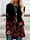 Per donna Monocolore Fantasia floreale Felpe con cappuccio da donna Manica lunga Maglioni cardigan Girocollo Autunno Primavera Nero Grigio