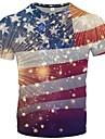 Men\'s T shirt Shirt Striped Graphic Geometric Plus Size Print Short Sleeve Casual Tops Round Neck Rainbow / Summer