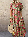 Women\'s Swing Dress Maxi long Dress Blue Red Yellow Short Sleeve Floral Patchwork Print Fall Summer Round Neck Work Casual Cotton 2021 S M L XL XXL 3XL 4XL 5XL