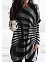 Női Váltó ruha Rövid mini ruha Fekete Hosszú ujj Csíkos Nyomtatott Ősz Tavasz Kerek Alkalmi Bő 2021 M L XL XXL 3XL