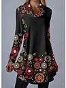 Kadın\'s Vardiyalı Elbise Kısa elbise Siyah Uzun Kollu Çiçekli Geometrik Desen Sonbahar Bahar Yuvarlak Yaka Günlük 2021 M L XL XXL 3XL