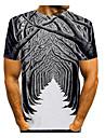 Men\'s T shirt Shirt 3D Print Graphic 3D Print Short Sleeve Daily Tops Round Neck Gray / White