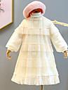 Kids Little Girls\' Dress Solid Colored Ruffle Lace Beige Knee-length Long Sleeve Cute Sweet Dresses