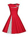 Women\'s A Line Dress Knee Length Dress Blue Black Red Sleeveless Polka Dot Patchwork Spring Summer Boat Neck 1920s Vintage Party Holiday 2021 S M L XL XXL XXXL
