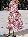여성용 스윙 드레스 미디 드레스 루비 긴 소매 프린트 프린트 가을 겨울 라운드 넥 캐쥬얼 빈티지 데이트 랜턴 슬리브 2021 S M L XL