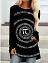 Per donna Abito a T shirt Mini abito corto Nero Manica lunga Con stampe Fantasia geometrica Con stampe Autunno Primavera Rotonda 3D Casuale Feste Per eventi Stampa 3D S M L XL XXL 3XL