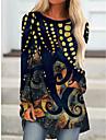 Per donna Abito a T shirt Mini abito corto Nero Manica lunga Con stampe Monocolore Animali Con stampe Autunno Primavera Rotonda Casuale Feste Per eventi 2021 S M L XL XXL 3XL